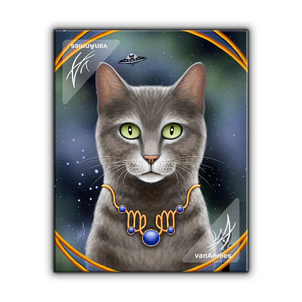 Zodiac Cat Virgo with September Birthstone Wrapped Canvas