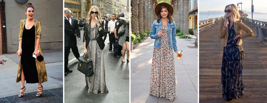 long dress with long jacket leather jacket jeans jacket and suede jacket