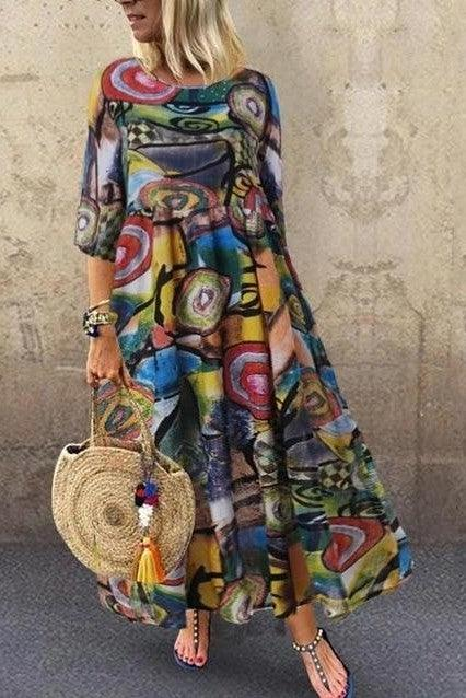Robe Longue Boheme Colore hippie