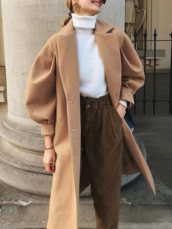 long manteau camel a manches bouffantes Charmante