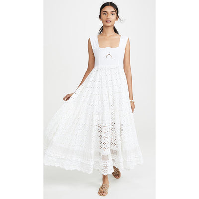 Robe Blanche Chic Bretelle Large pas cher