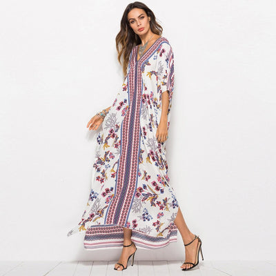 Robe Ample Boho Manches Chauve-Souris chic