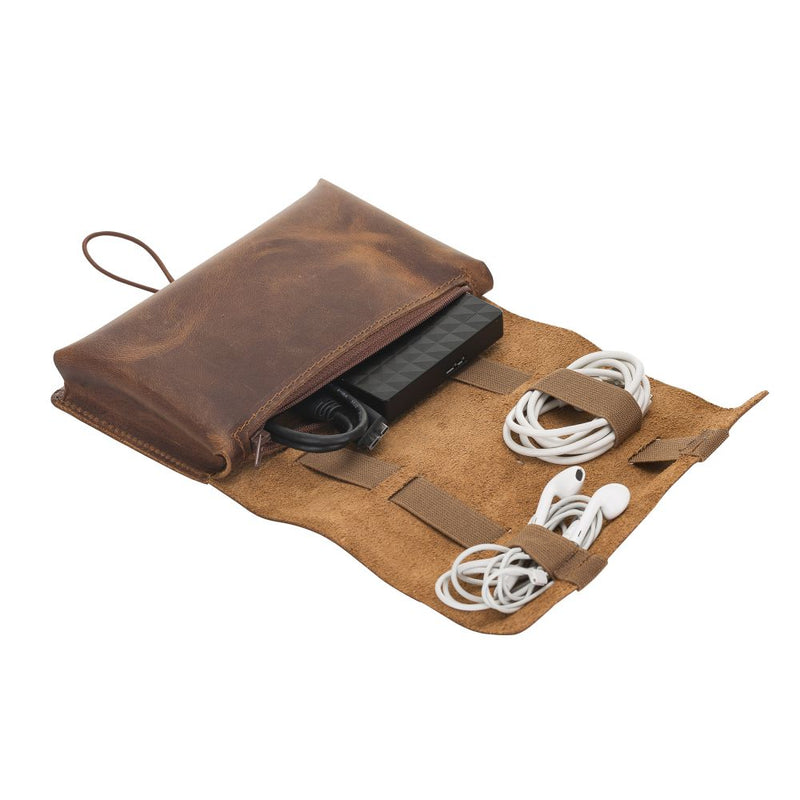 Leather Cable Organizer Bag