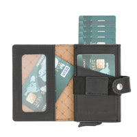 Carlov Leather Mechanism Wallet Card Holder with RFID