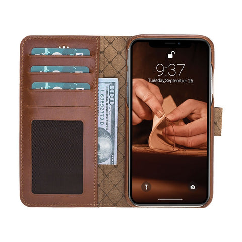 F360 Magnetic Detachable Leather Wallet Case for Apple iPhone XR