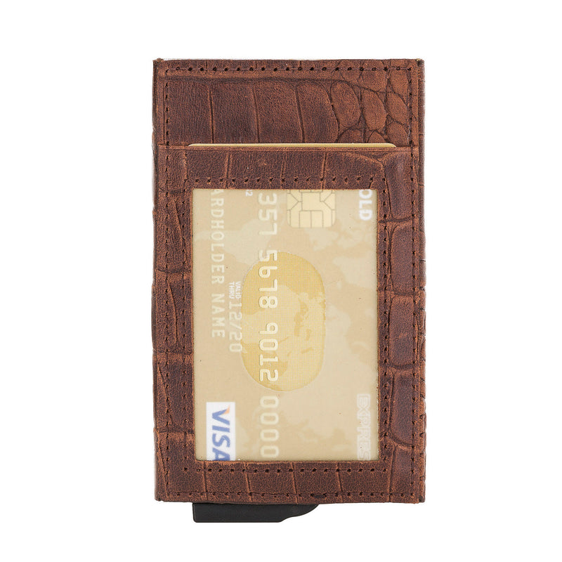 Fernando Leather Mechanism Card Holder with RFID