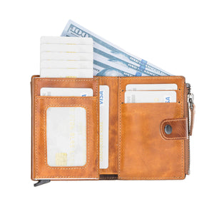 Leather Zip Wallet with Mechanism Card Holder and RFID Technology
