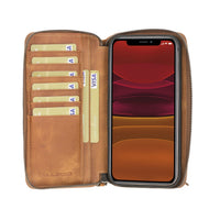 Pouch Magnetic Detachable Leather Wallet Case with RFID Blocker for Apple iPhone 12 & Pro 6.1""