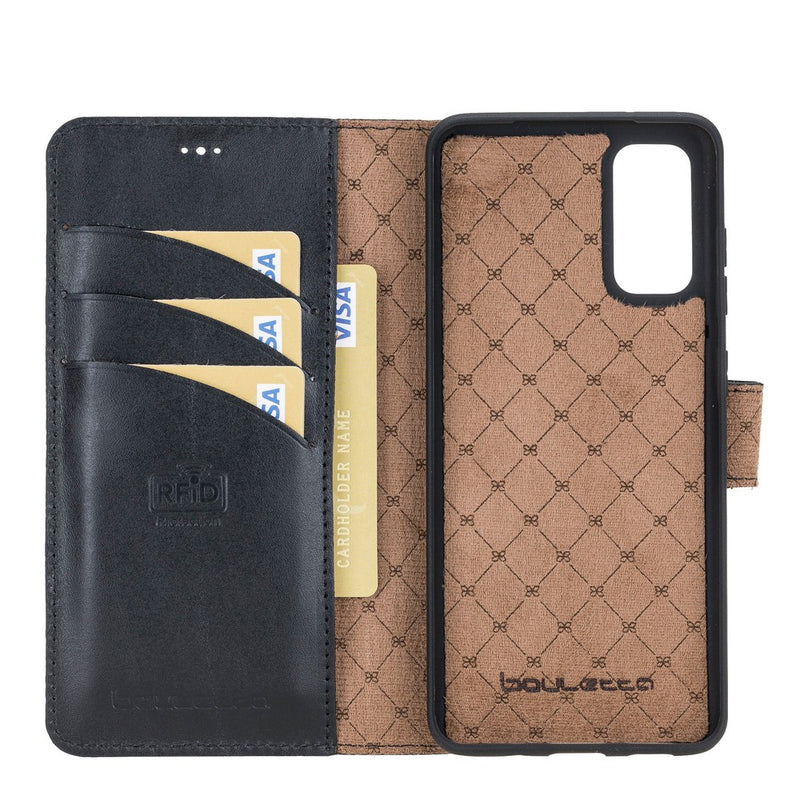 Magnetic Detachable Leather Wallet Case with RFID Blocker for Samsung Galaxy S20