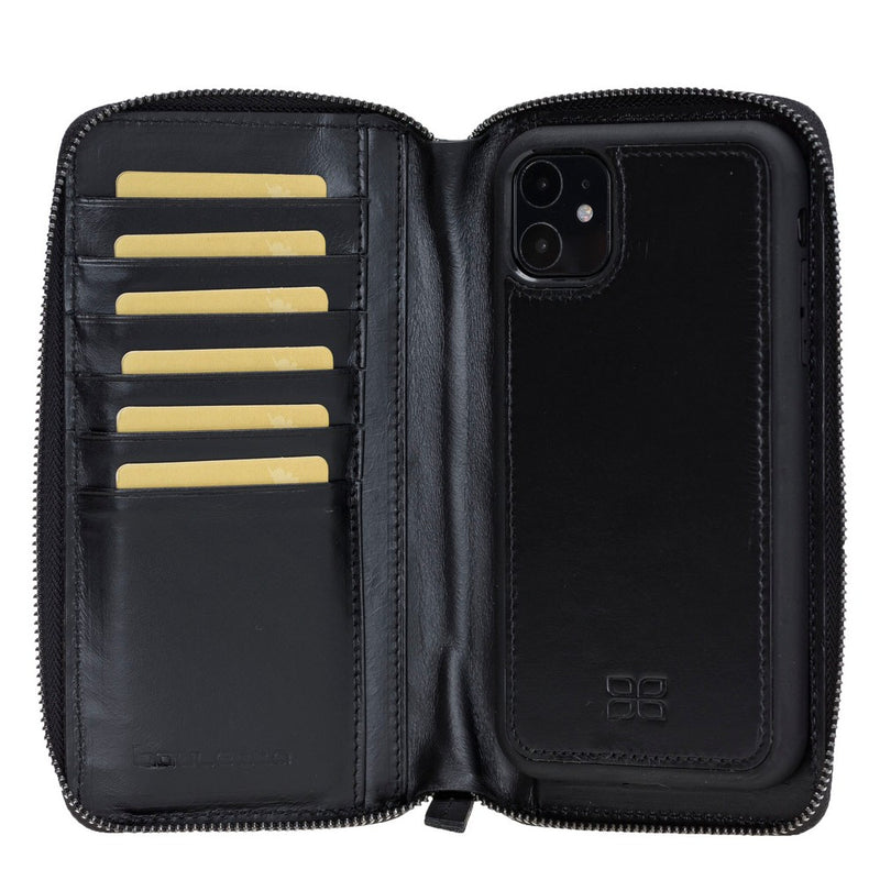 Pouch Magnetic Detachable Leather Wallet Case with RFID Blocker for Apple iPhone 11 6.1""