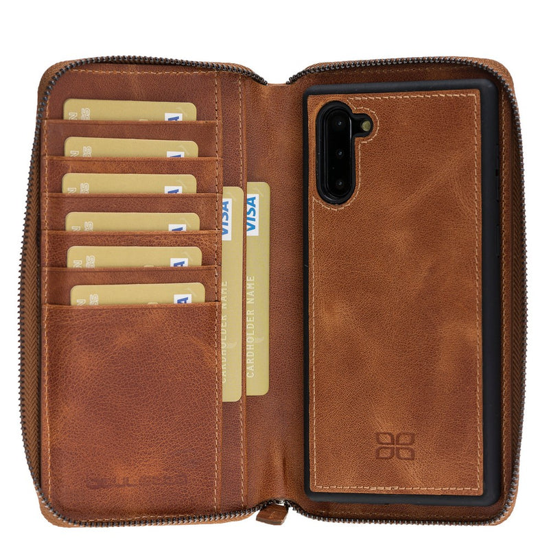 Pouch Magnetic Detachable Leather Wallet Caase with RFID Blocker for Samsung Note 10