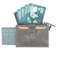Mechanical Slim Zip Leather Wallet with Card Holder and RFID Technology