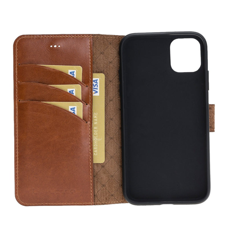Wallet Folio Leather Case ID Slot with RFID Blocker for Apple iPhone 11 6.1""