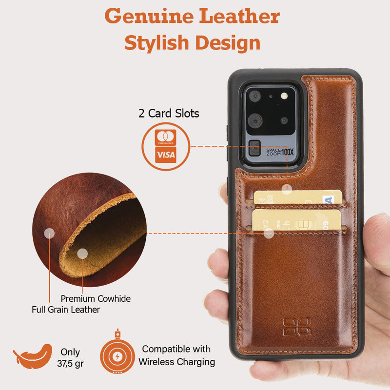 Flex Cover Back Leather Case with Card Holder for Samsung Galaxy S20 Ultra
