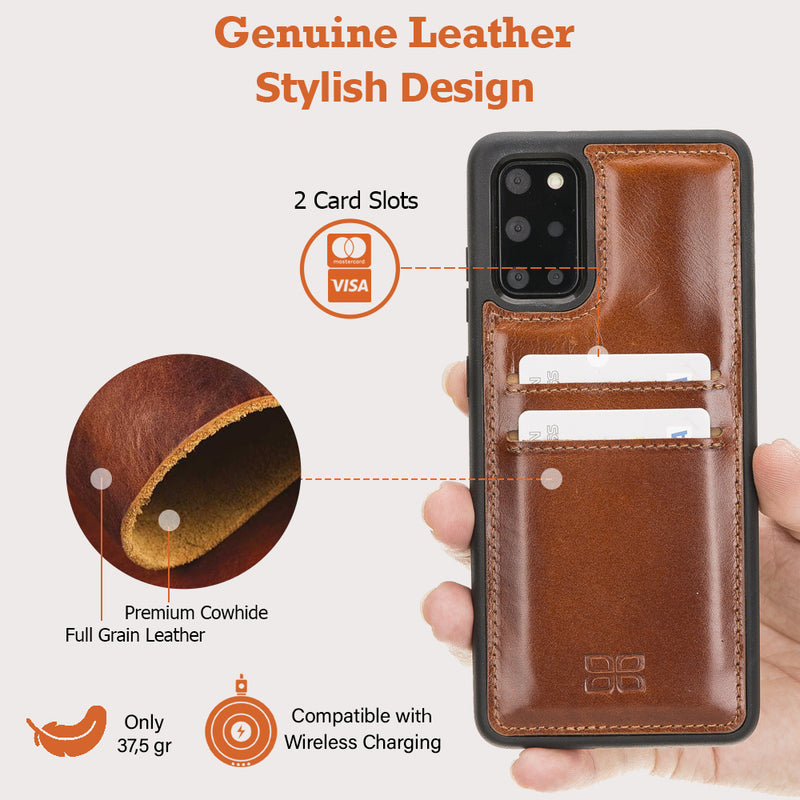 Flex Cover Back Leather Case with Card Holder for Samsung Galaxy S20 Plus