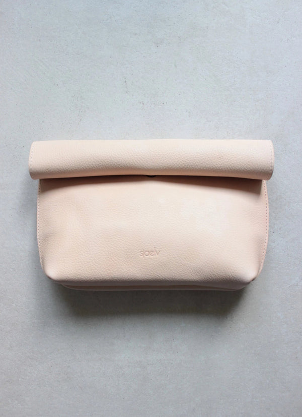 Roll top clutch nude