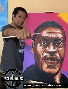 Jesse Raudales Paints Original George Floyd Piece