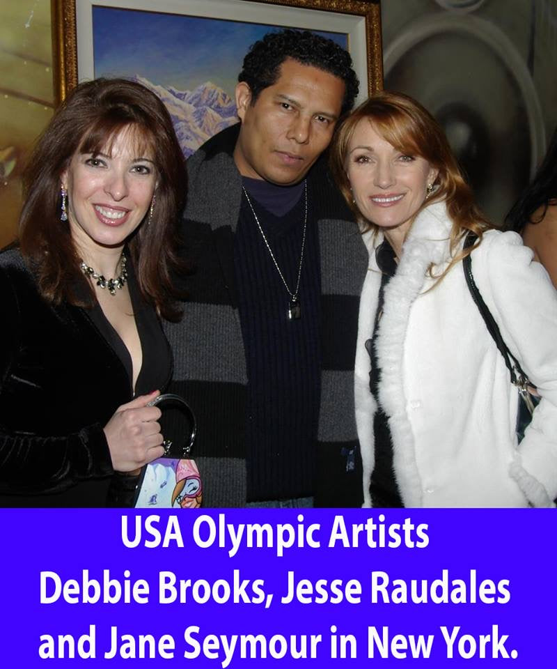 Jesse Raudales, Debbie Brooks, and Jane Seymour Celebrity Olympic Artist Unite in NYC