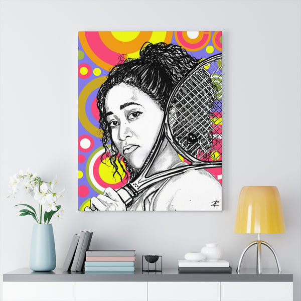 Naomi Osaka by Jesse Raudales Canvas Gallery Wraps