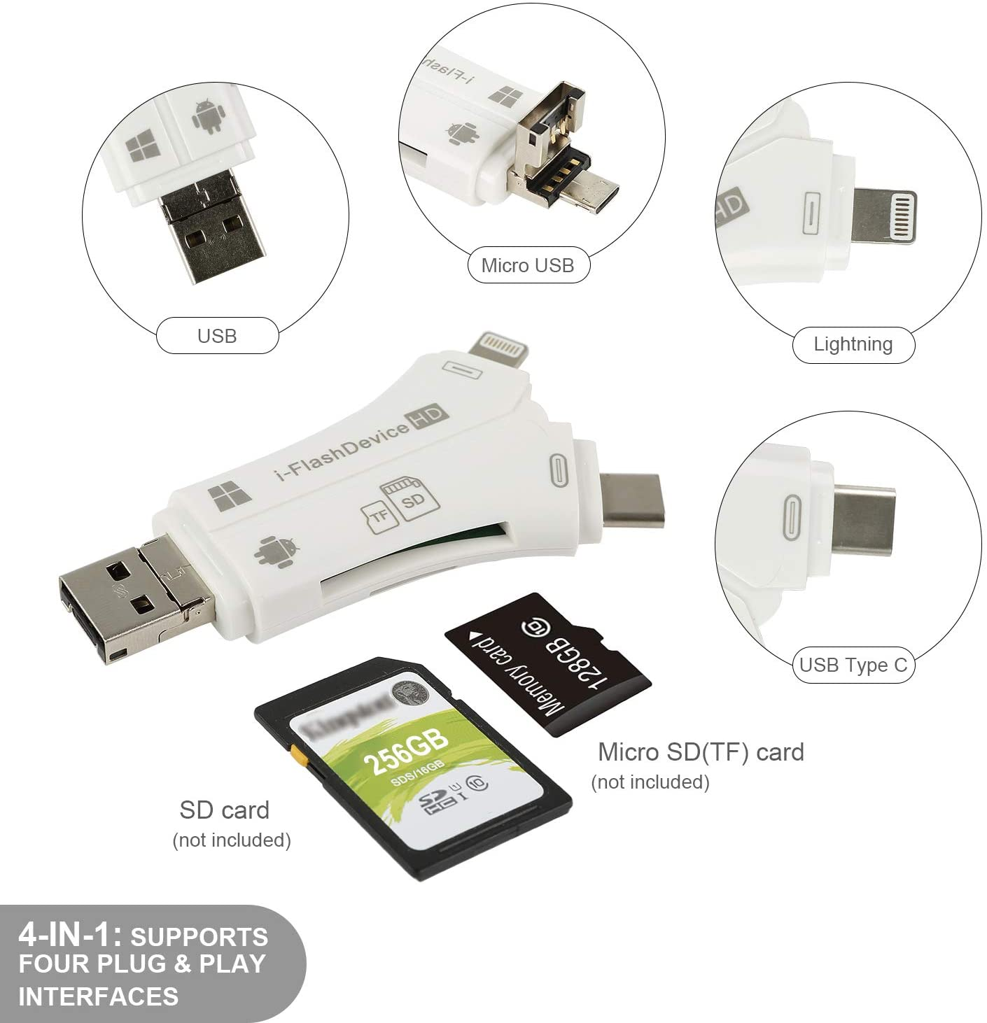 4 em 1 SD Card Reader Memory Card Adaptador