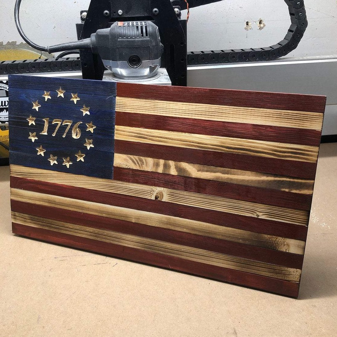 1776 Betsy Ross Wooden Flag - Broad Shoulders Woodworks 2020