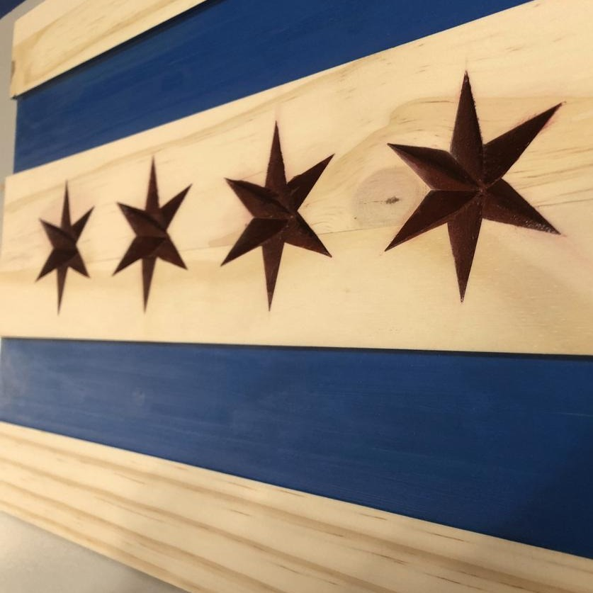Wooden Chicago Flag - Broad Shoulders Woodworks