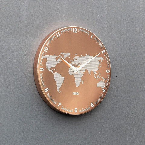 Carte du monde horloge rose gold.