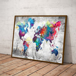 Carte du monde tableau multicolores.