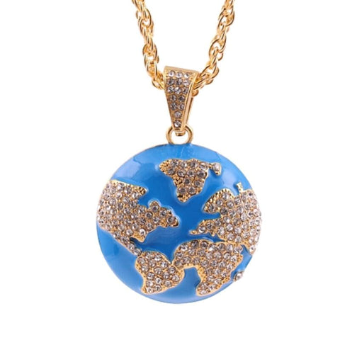 Collier mappemonde or strass.