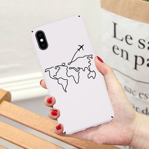 Coque iPhone carte du monde blanche.