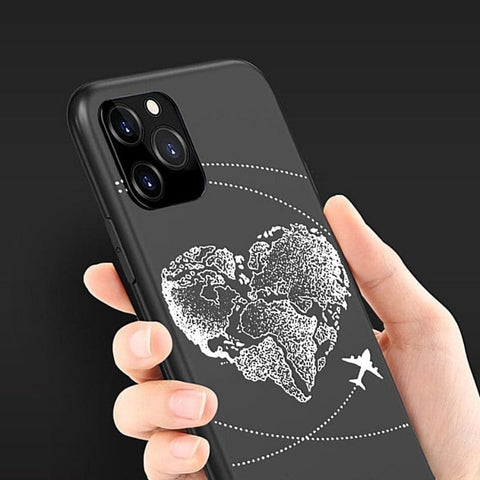 Coque d 'iPhone avec motif de carte du monde.