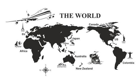 Carte du Monde Noir The world en Stickers
