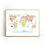 Carte Du Monde Animaux Rose