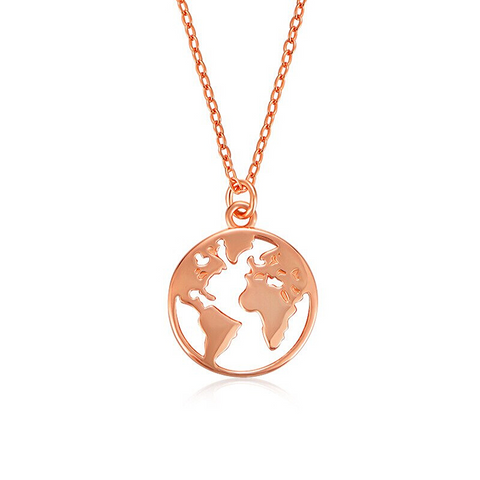 Collier Mappemonde Rose Or
