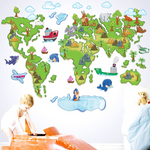 Stickers Carte Du Monde Enfant Ludique