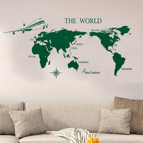Stickers Carte Du Monde Vert The World
