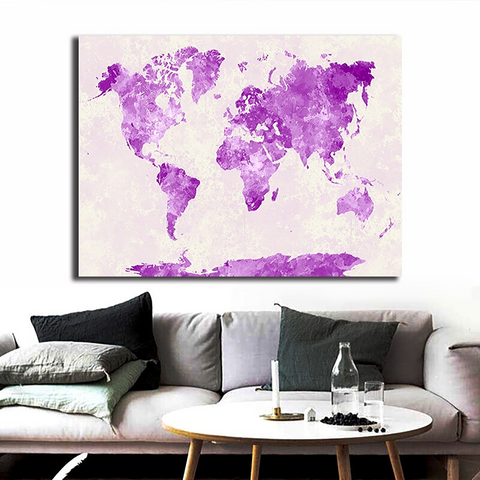 Carte Du Monde Décoration Violet