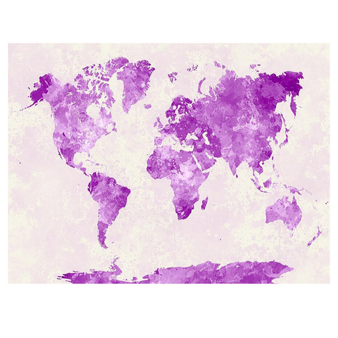 Carte Du Monde Décoration Violete
