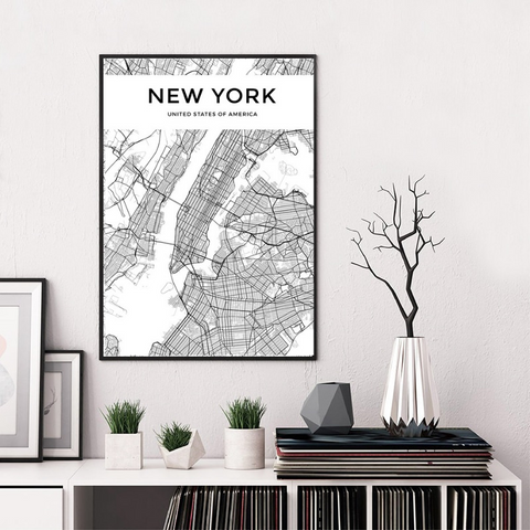 Carte Du Monde Déco Blanche New York