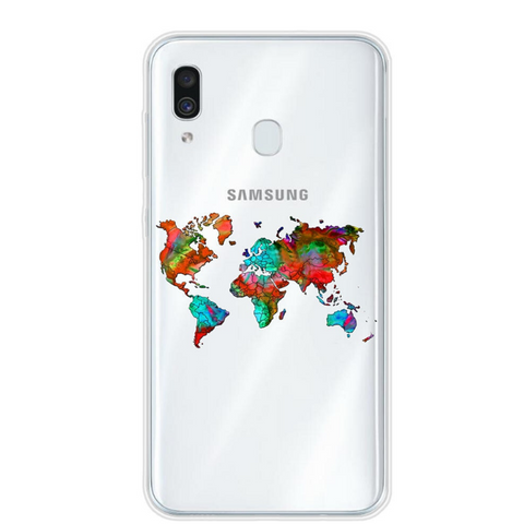 Coque carte du monde multicolore.