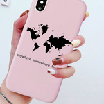 Coque Carte Du Monde Rose