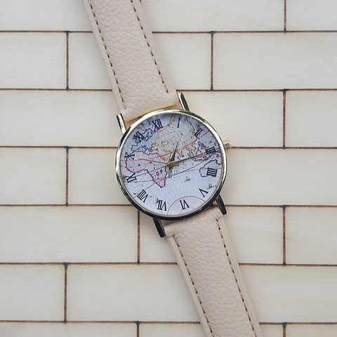 Montre Carte Du Monde Couleur Beige