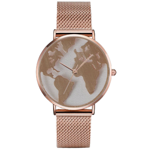 Montre monde rose gold couleur.