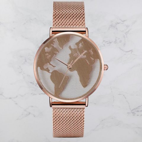 Montre monde rose gold