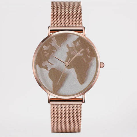 Montre monde couleur rose gold.