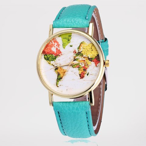 Montre mappemonde turquoise.