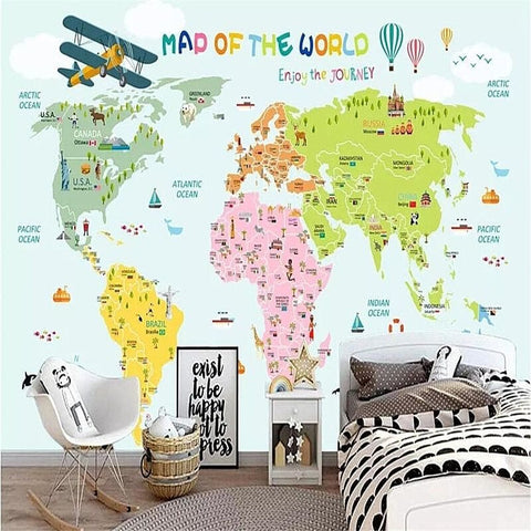 Papier peint carte du monde enfant enjoy.