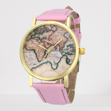 Montre Carte Du Monde Rose Fond Dur