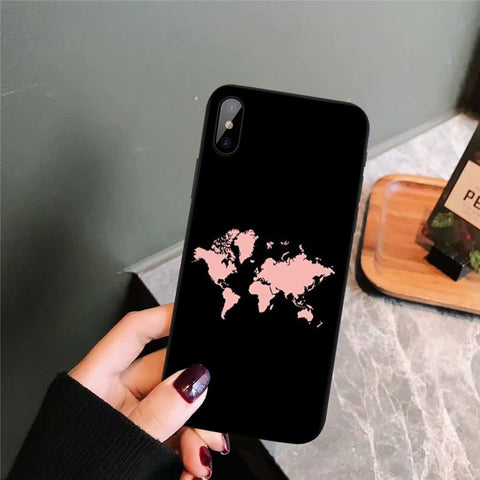Coque Iphone Carte Du Monde Rose