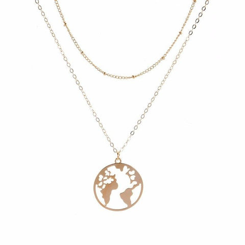 Collier Mappemonde Or En Double